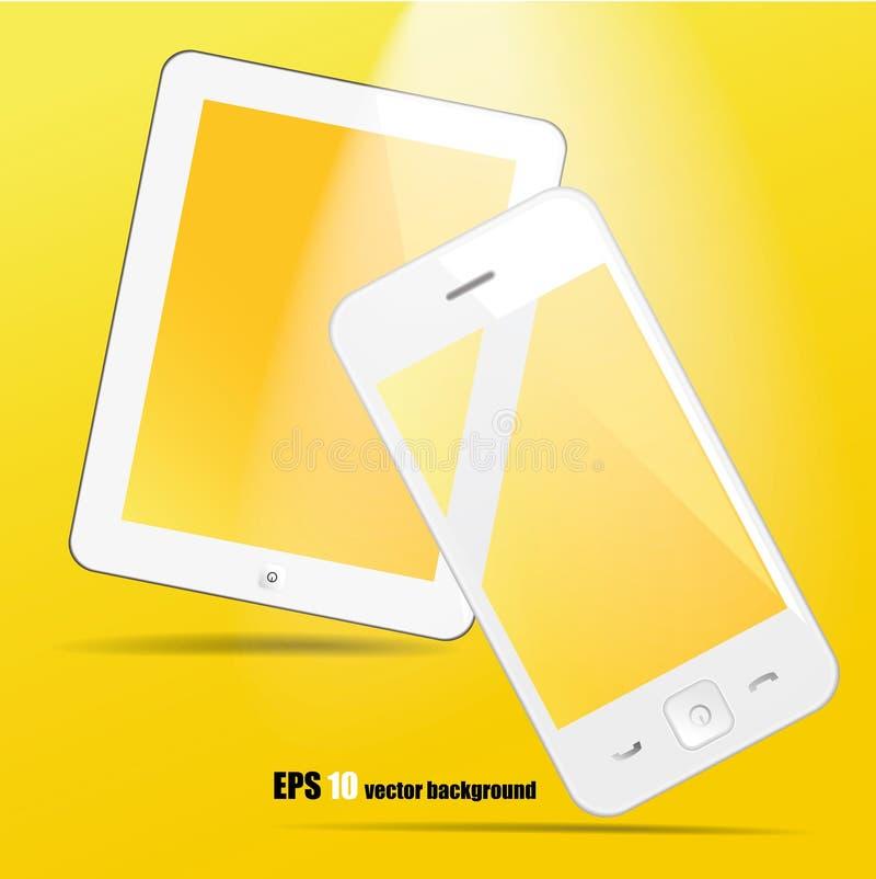 Biały pastylki smartphone i komputer osobisty ilustracja wektor