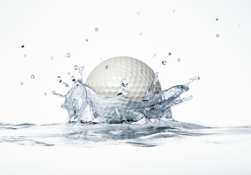 Biały piłki golfowej chełbotanie w wodę, tworzy korony pluśnięcie. fotografia stock