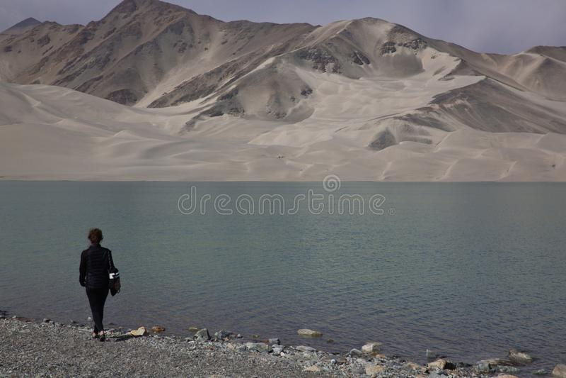 Biały Piasek jezioro, China's Xinjiang region fotografia stock