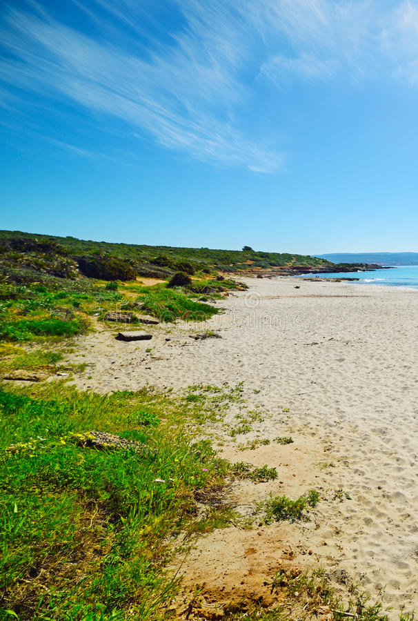 Biały piasek w Le Bombarde plaży fotografia stock