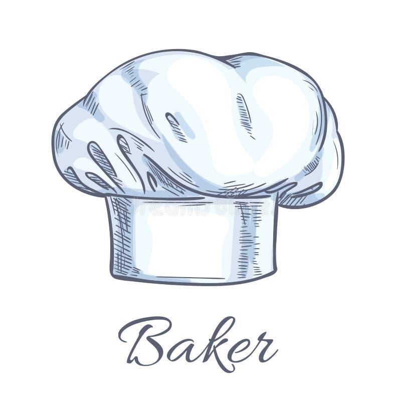 Biały piekarniany toque lub szefa kuchni kapeluszowy nakreślenie ilustracja wektor