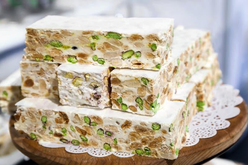 Biały pistacjowy nugat obrazy royalty free