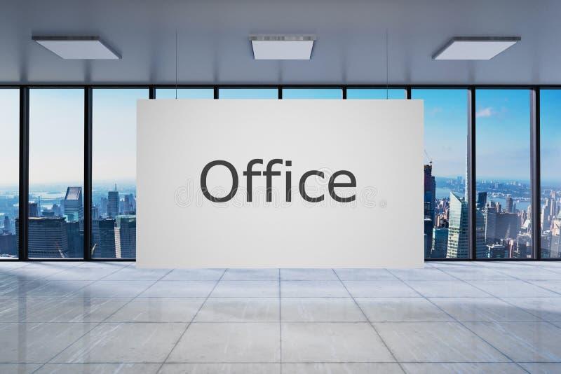 Biały plakat w wielkim nowożytnym pustym biurze z linia horyzontu widoku 3D ilustracją ilustracji