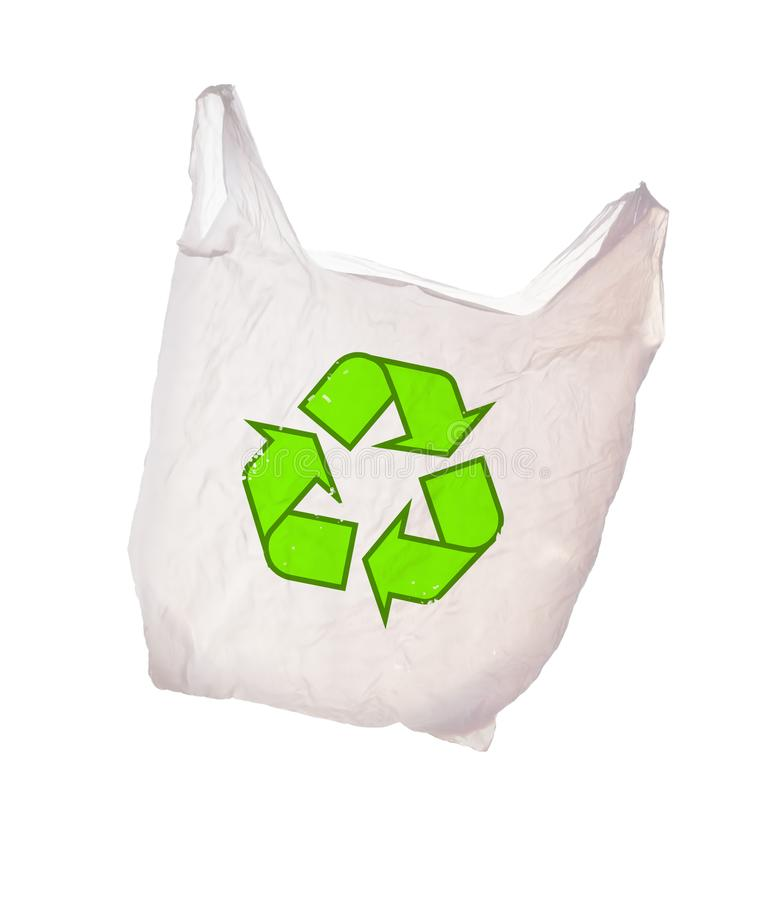 Biały plastikowy worek z przetwarza loga odizolowywającego na białym tle _ obrazy stock