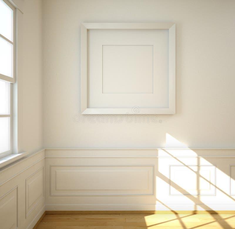 Biały pokój z pustą ramą zdjęcie stock