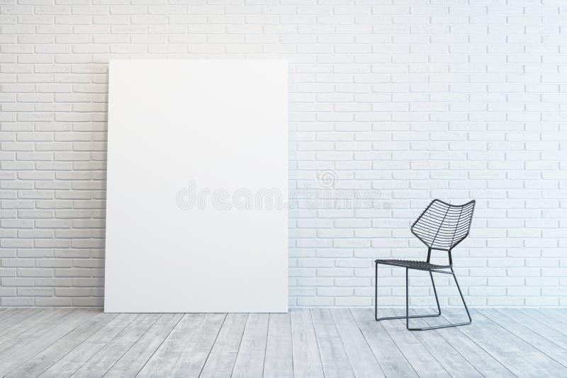 Biały pokój z pustym obrazkiem i krzesłem ilustracji