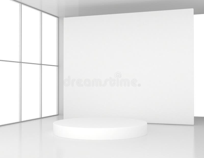Download Biały Pokój Z Round Piedestałem Ilustracji - Ilustracja złożonej z target31, tło: 53775052