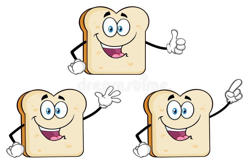 Biały Pokrojony Chlebowy kreskówki maskotki charakter 1 Kolekcja ilustracji