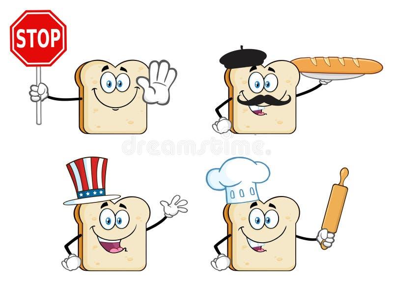 Biały Pokrojony Chlebowy kreskówki maskotki charakter 2 Kolekcja ilustracji