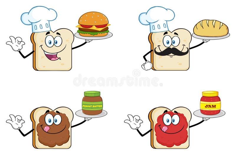 Biały Pokrojony Chlebowy kreskówki maskotki charakter 3 Kolekcja royalty ilustracja
