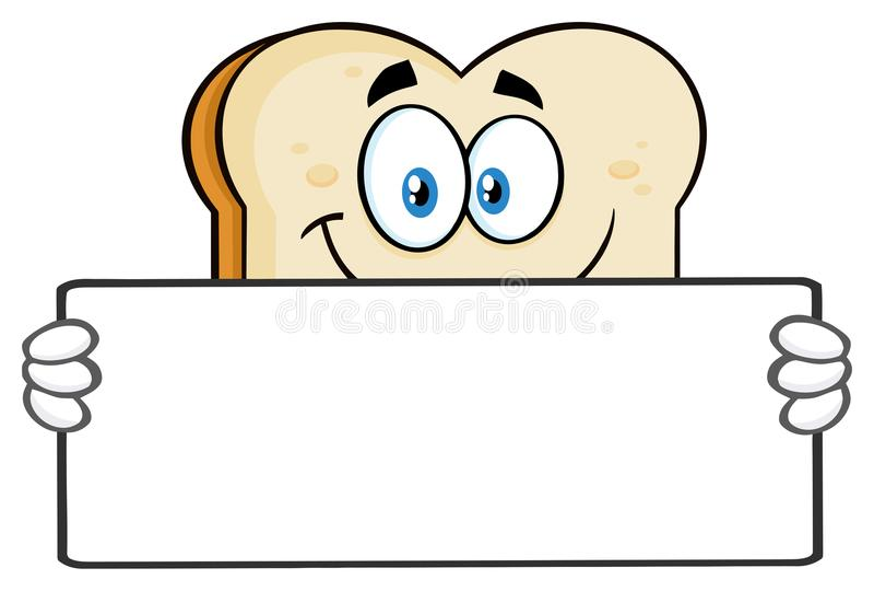 Biały Pokrojony Chlebowy kreskówki maskotki charakter Trzyma Pustego znaka ilustracji