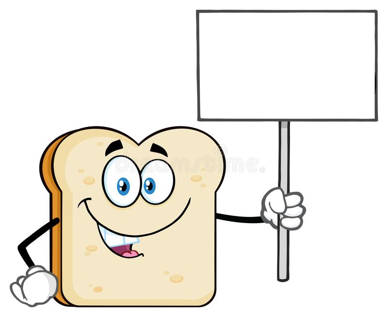 Biały Pokrojony Chlebowy kreskówki maskotki charakter Trzyma Pustego znaka royalty ilustracja