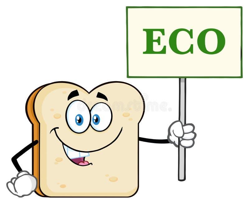 Biały Pokrojony Chlebowy kreskówki maskotki charakter Trzyma znaka Z tekstem Eco royalty ilustracja