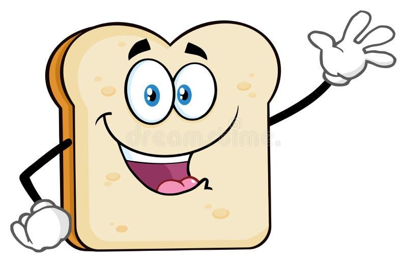 Biały Pokrojony Chlebowy kreskówki maskotki charakteru falowanie Dla powitania ilustracja wektor