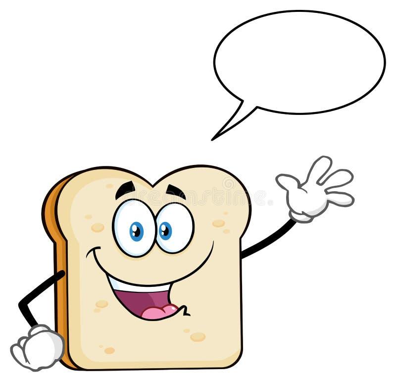 Biały Pokrojony Chlebowy kreskówki maskotki charakteru falowanie Dla powitania Z mowa bąblem ilustracji