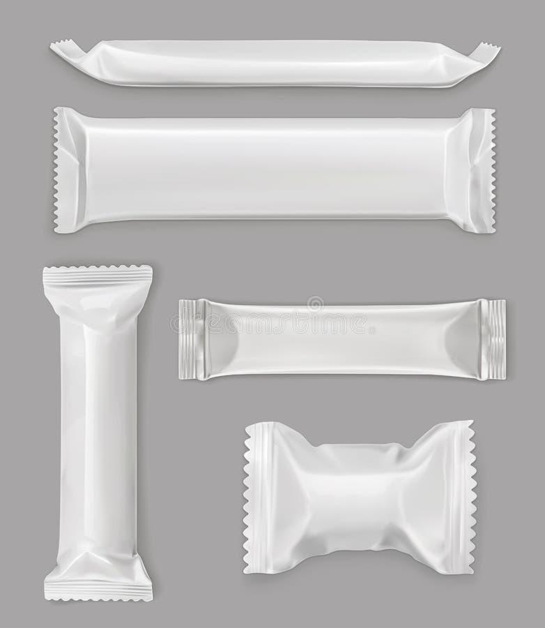 Biały polietylenu pakunek, czekoladowy bar