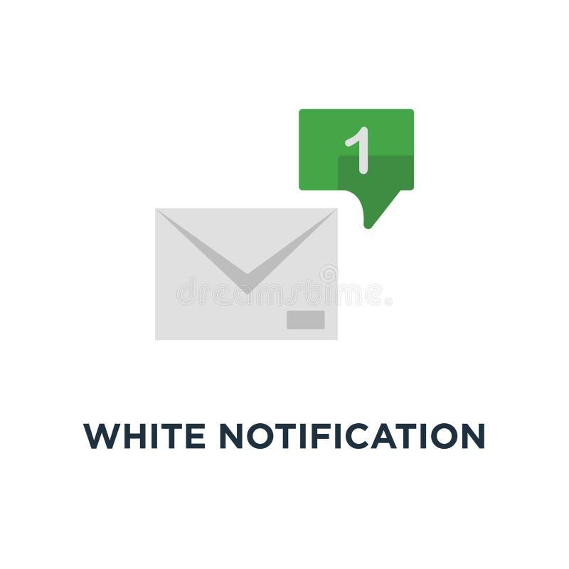 biały powiadomienia 1 email z mowa bąbla ikoną, symbolu trendu ui prostego logotypu graficzny projekt na czerwonym tła pojęciu royalty ilustracja