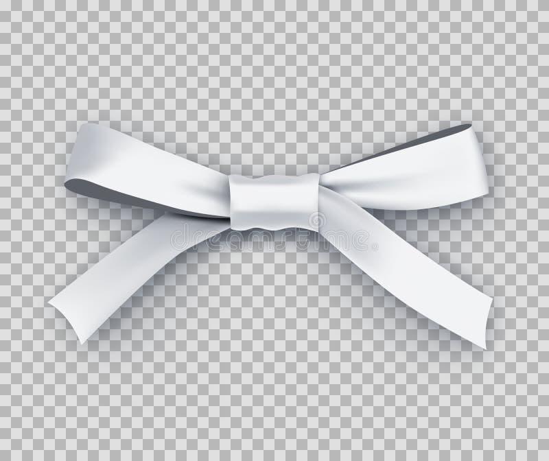 Biały prezenta łęk od atłas cienkiej taśmy ilustracji