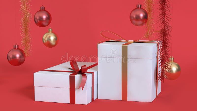 Biały prezenta pudełko abstrakcjonistyczny bożego narodzenia tło 3d odpłaca się kruszcową czerwoną złocistą piłkę zdjęcia stock