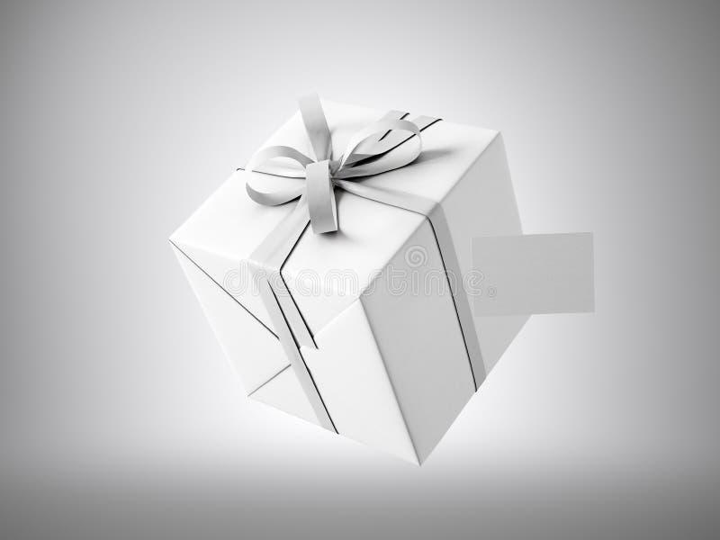 Biały prezenta pudełko z białą tasiemkową łęku i pustego miejsca wizytówką, odizolowywającą na szarość 3 d czynią royalty ilustracja