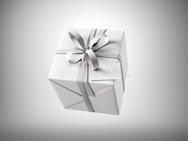 Biały prezenta pudełko z białą tasiemkową łęku i pustego miejsca wizytówką, odizolowywającą na szarość, horyzontalnych 3 d czynią ilustracja wektor