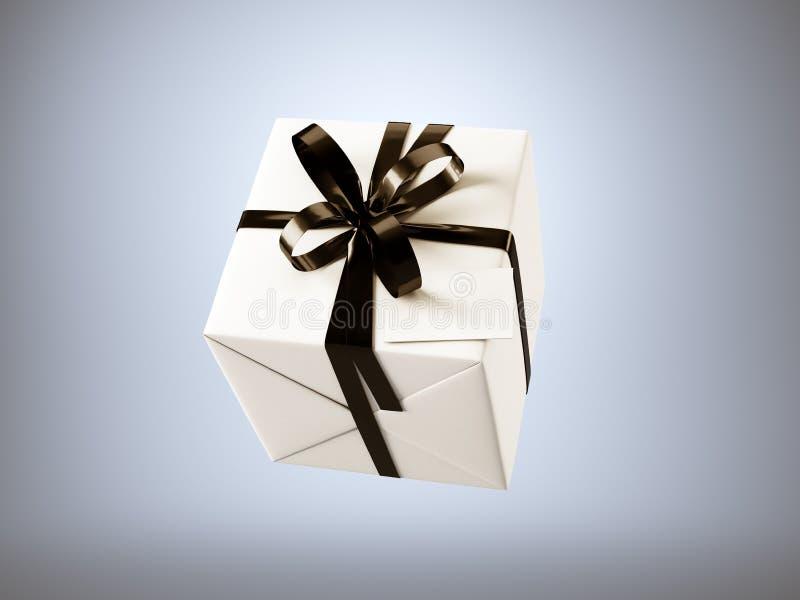 Biały prezenta pudełko z czarną tasiemkową łęku i pustego miejsca wizytówką, odizolowywającą na szarość, horyzontalnych 3 d czyni ilustracji
