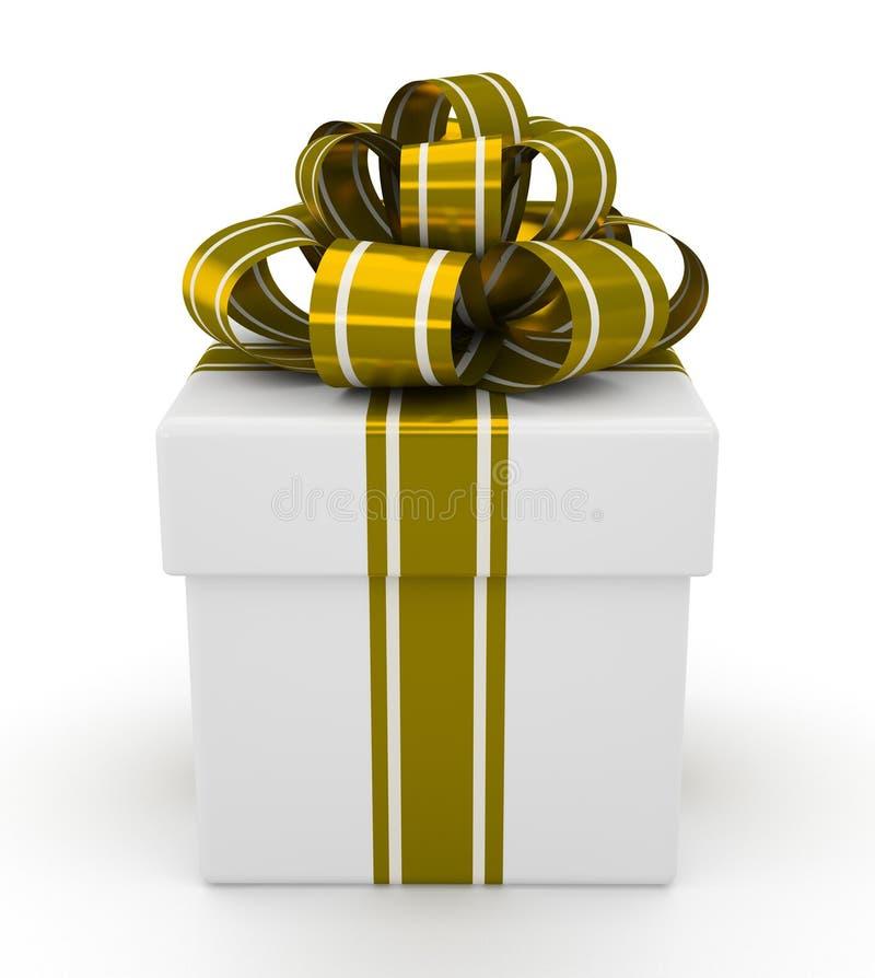 Biały prezenta pudełko z złocistym łękiem odizolowywającym na białym tle 2 ilustracja wektor