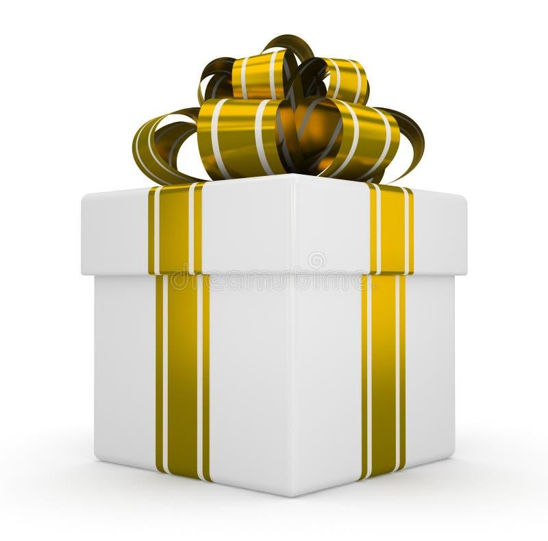 Biały prezenta pudełko z złocistym łękiem odizolowywającym na białym tle 3 royalty ilustracja