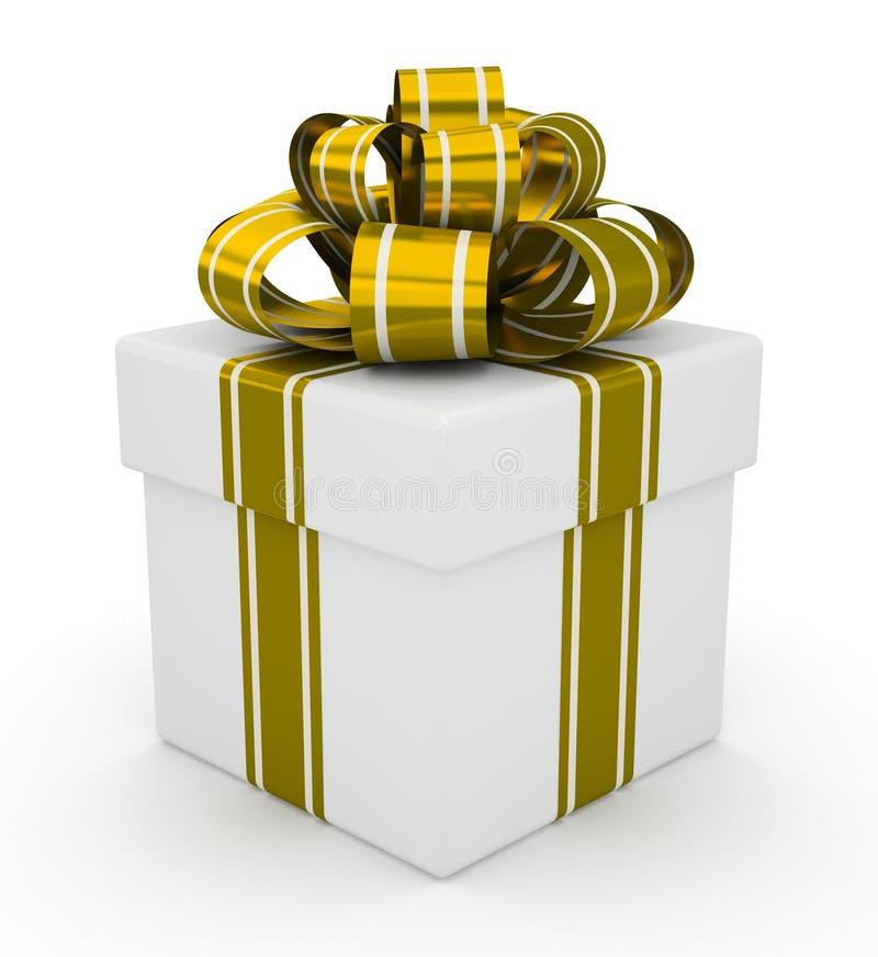 Biały prezenta pudełko z złocistym łękiem odizolowywającym na białym tle ilustracja wektor