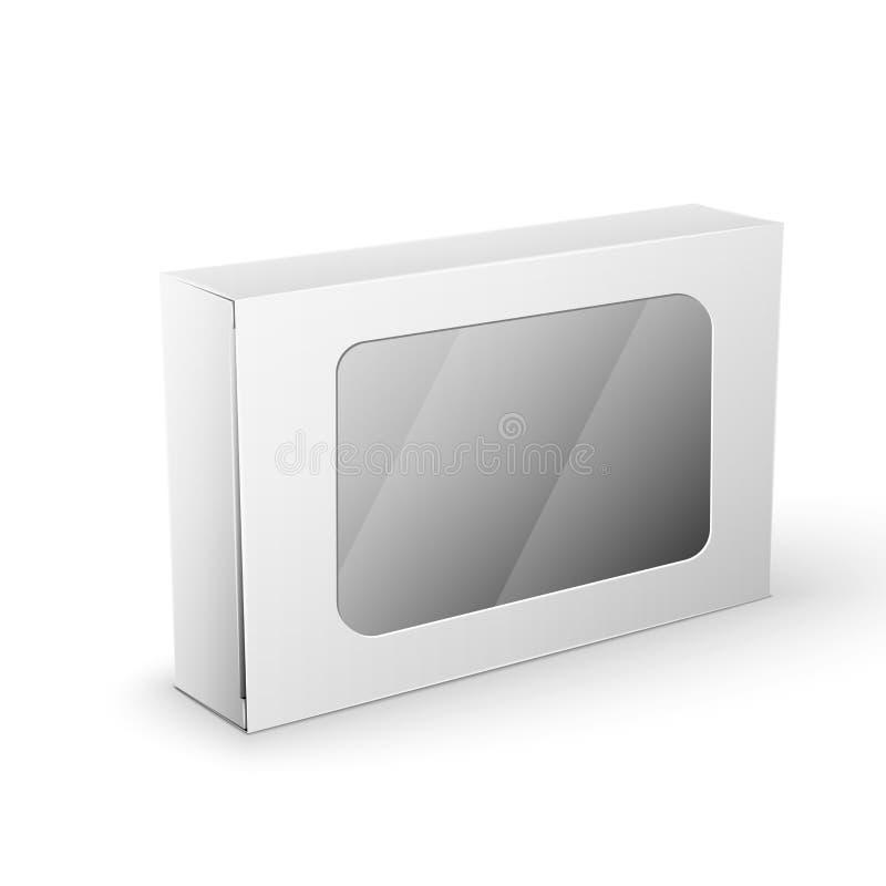 Biały produktu pakunku pudełka egzamin próbny W górę szablonu ilustracja wektor
