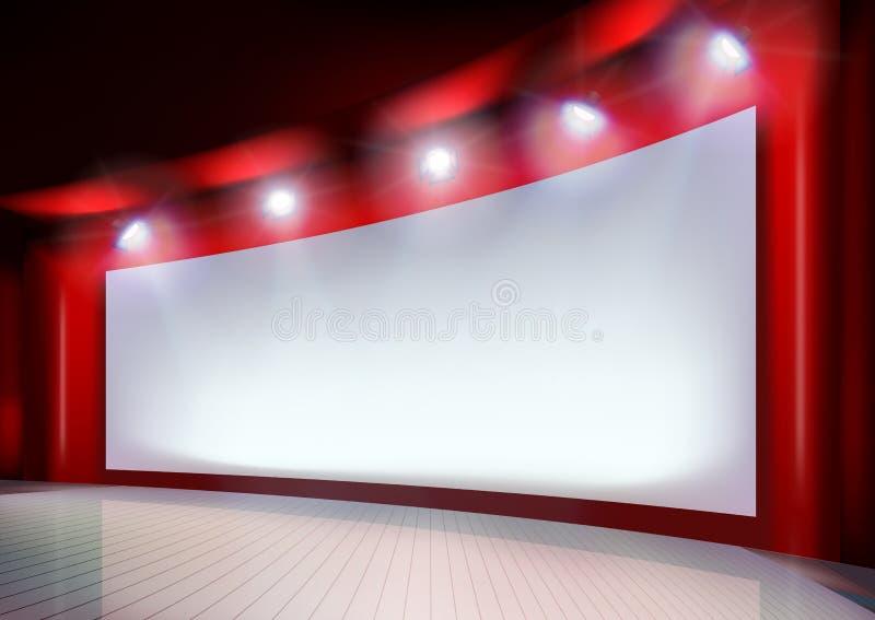 Biały projekcyjny ekran również zwrócić corel ilustracji wektora ilustracja wektor