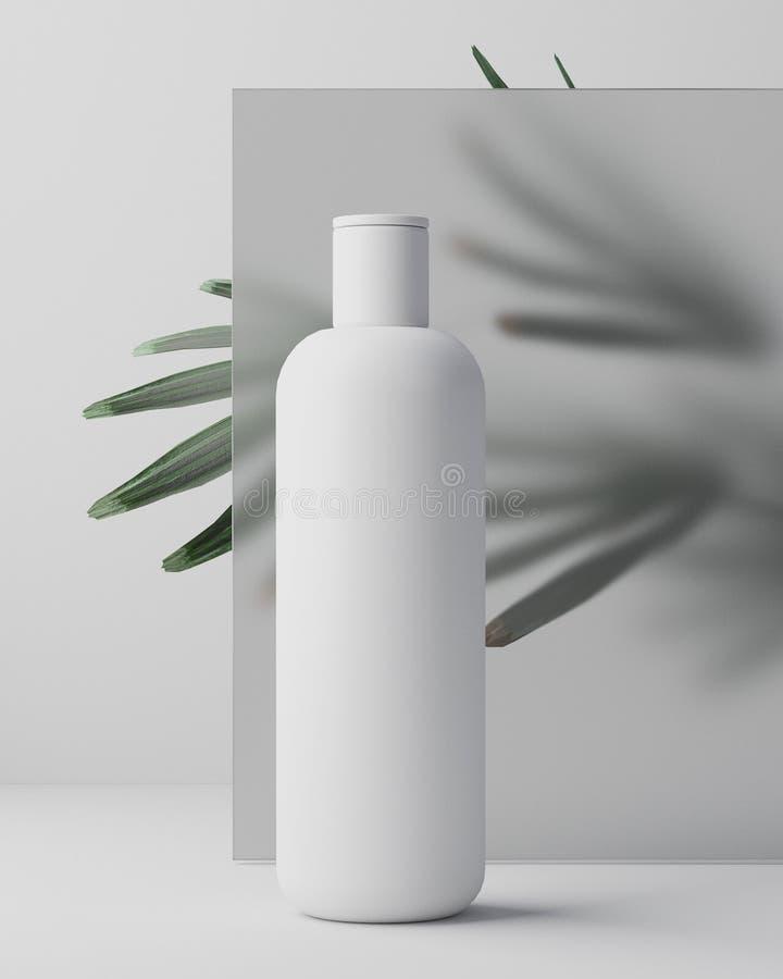 Biały projekt naturalna kosmetyczna śmietanka, serum, skincare pusta butelka pakuje z liścia ziele, życiorys organicznie produkt obrazy stock