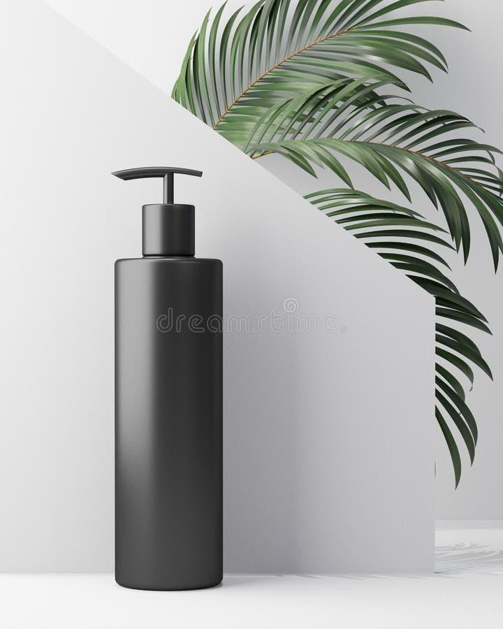 Biały projekt naturalna kosmetyczna śmietanka, serum, skincare pusta butelka pakuje z liścia ziele, życiorys organicznie produkt ilustracja wektor