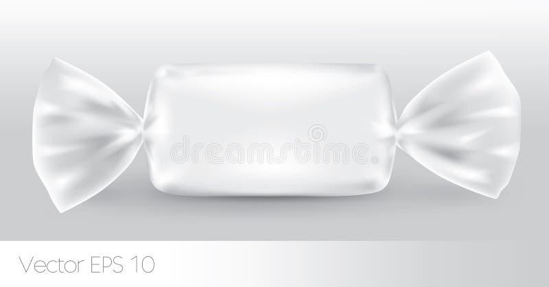 Biały prostokątny cukierku pakunek ilustracja wektor