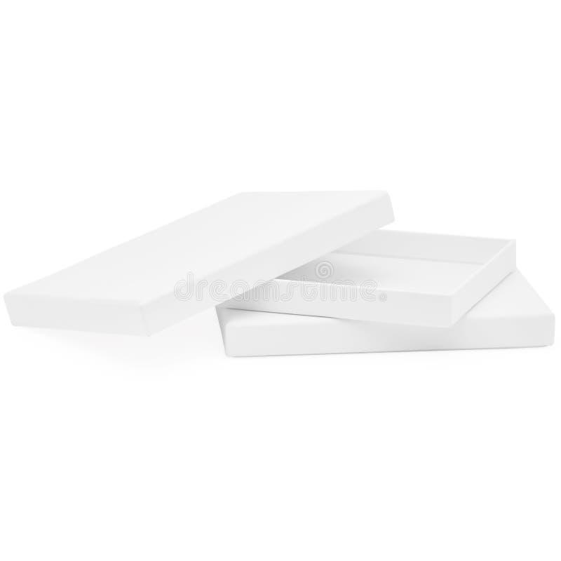 Biały Prostokątny Płaski Czekoladowy biżuterii i prezenta pudełko obrazy stock