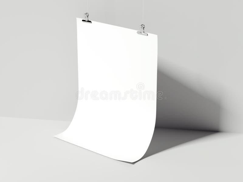 Biały przegięty szkotowy obwieszenie świadczenia 3 d ilustracji