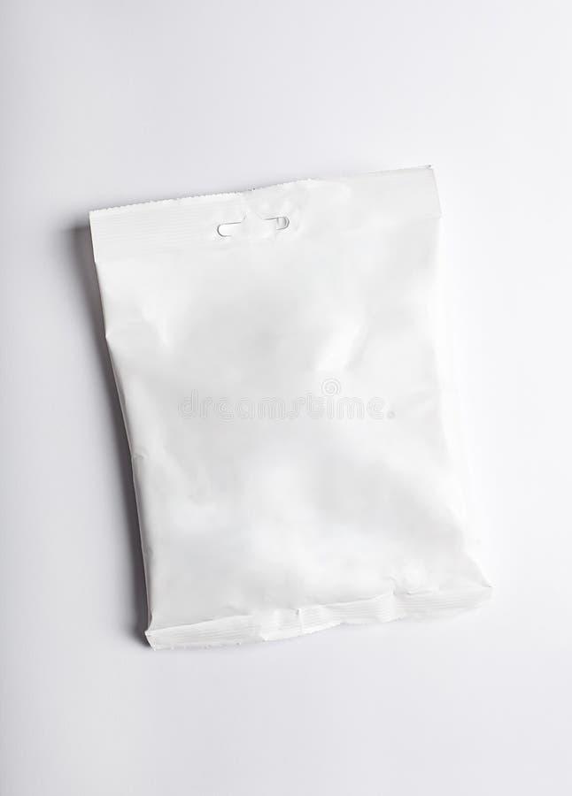 Biały przekąski jedzenia pakunku mockup fotografia stock