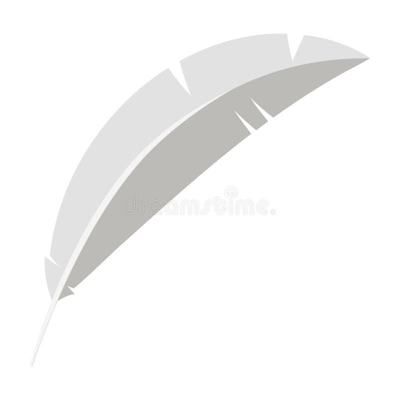 Biały ptak pisze piórkowej ikonie odizolowywającej na białym tle ilustracji