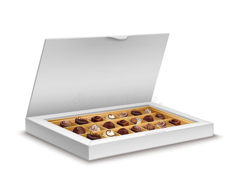 Biały pudełko czekolady ilustracji