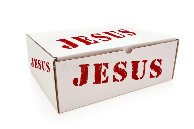 Biały pudełko z Jezus na stronach Odizolowywać fotografia stock