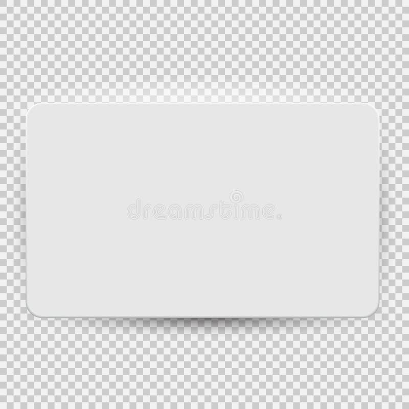 Biały pustego kredyta lub prezent karty modela szablonu odgórny widok z cieniem odizolowywającym na przejrzystym tle wektor ilustracji