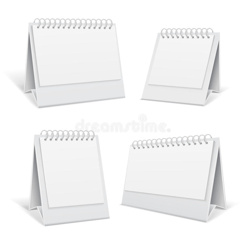 Biały pustego stołu spirali 3d biuro porządkuje wektorową ilustrację ilustracja wektor
