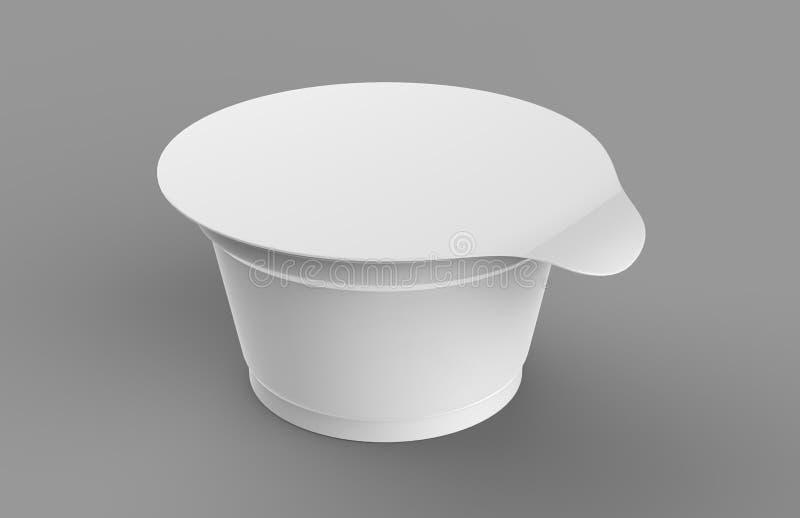 Biały pusty jogurtu, lody lub podśmietania creme pakunek na białym tle, 3D wyśmiewają up zbiornik z deklem odizolowywającym Szabl royalty ilustracja
