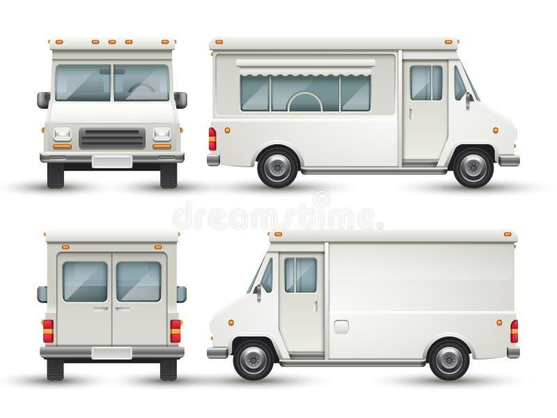 Biały pusty karmowy samochód, reklamy ciężarówka odizolowywająca royalty ilustracja