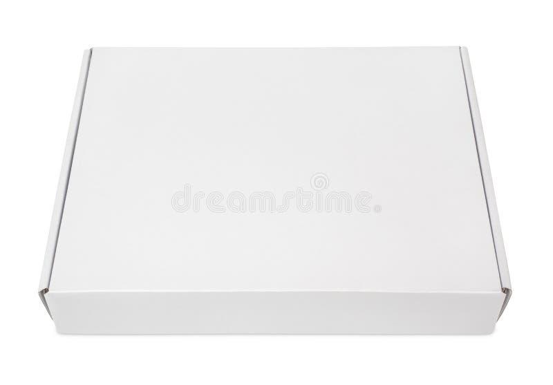 Biały pusty karton pizzy pudełko zdjęcia stock