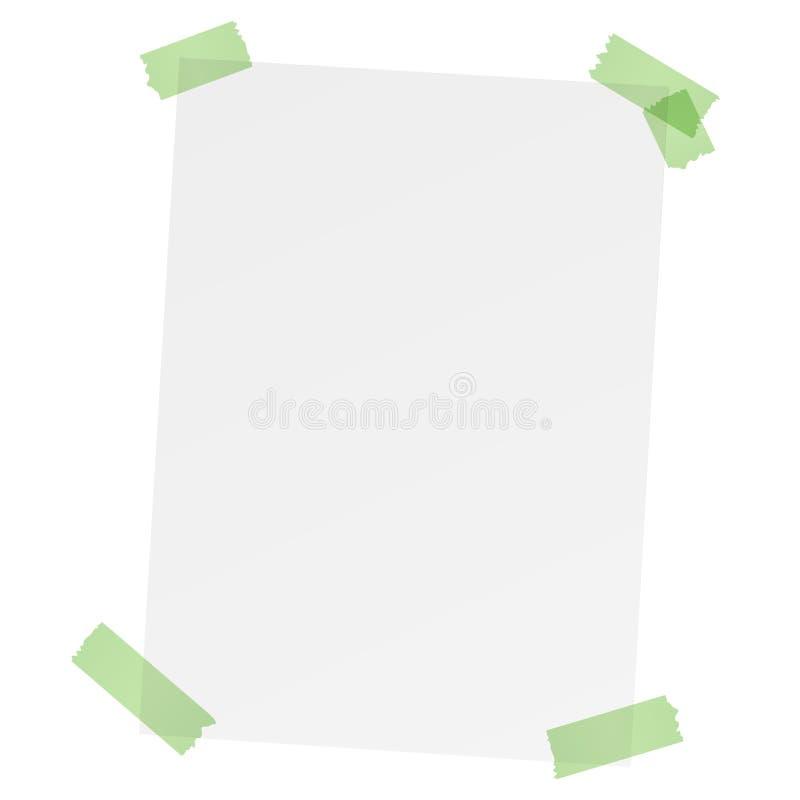 Biały pusty papier z barwioną taśmą ilustracja wektor