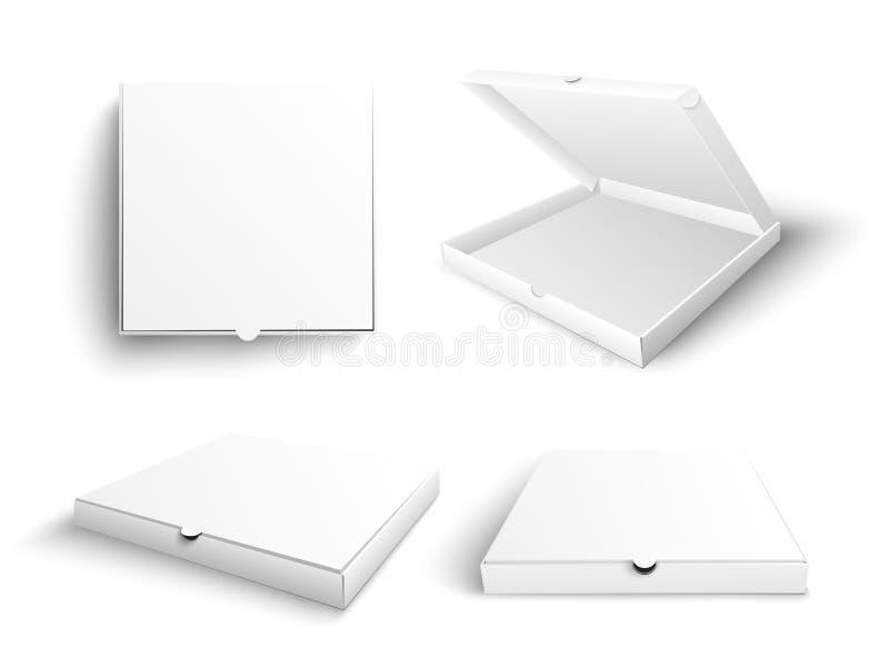 Biały pusty pizzy pudełka egzamin próbny w górę wektorowy ilustracyjnego ustawiającego w realistycznym stylu royalty ilustracja