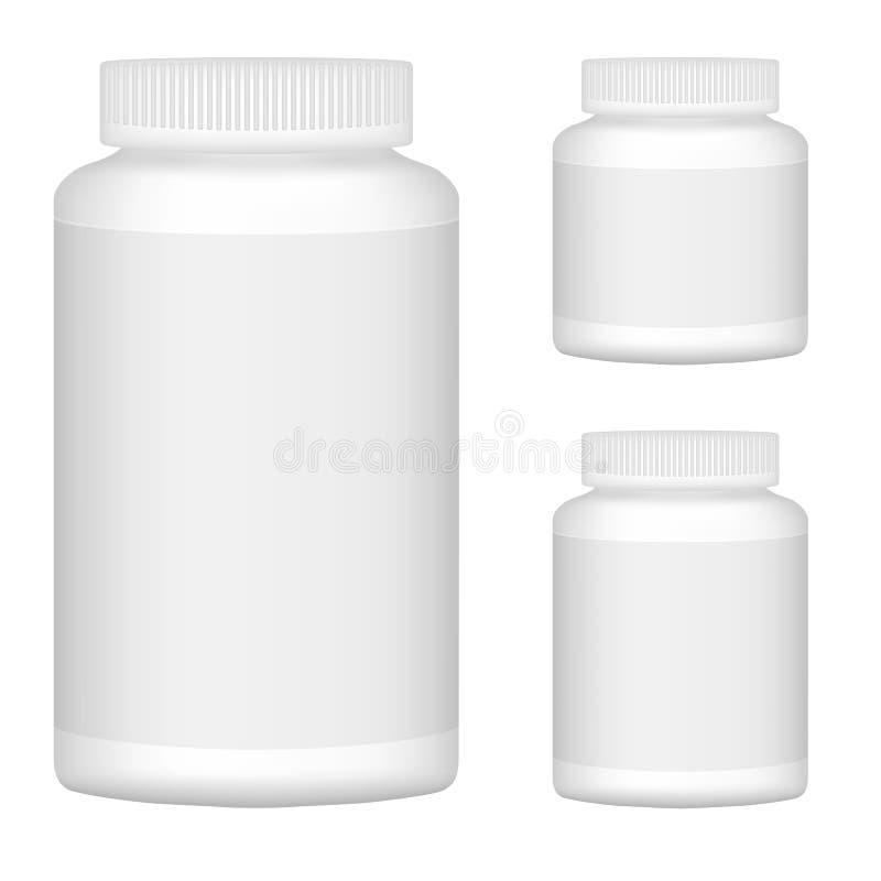 Biały Pusty Plastikowy butelka set Dla Pakować projekt. Set 1 royalty ilustracja