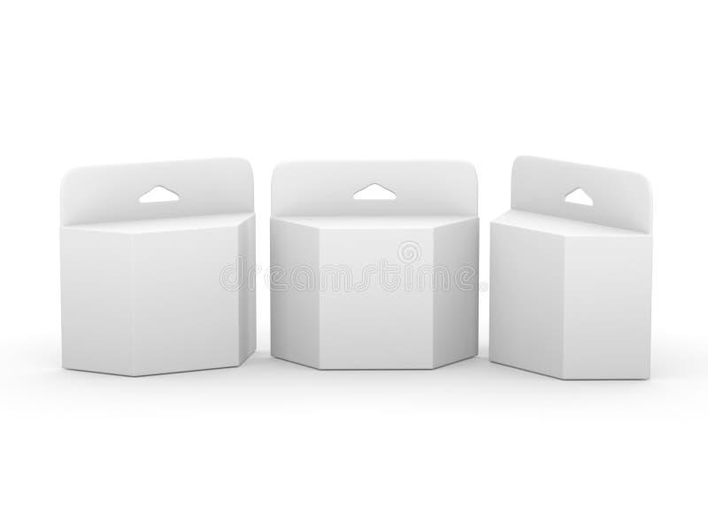Biały pusty trapezoidu pudełka atramentu ładownicy pakunek z przycinać p royalty ilustracja