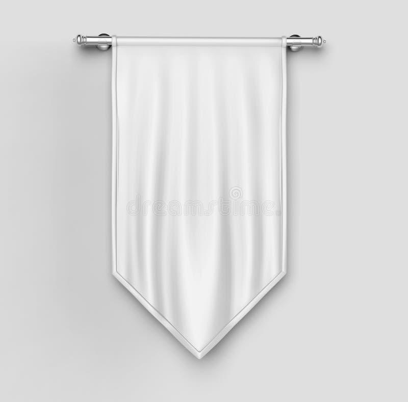 Biały pusty Vertical flaga sztandaru egzamin próbny w górę szablonu ilustracja 3 d royalty ilustracja